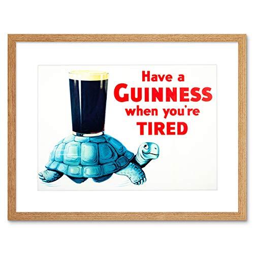 AD DRINK ALCOHOL IRISH STOUT ALE TORTOISE BLUE SHELL GLAS FRAMED PRINT B12X6282