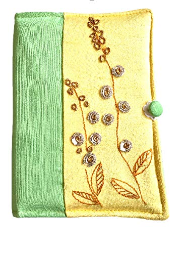Living roots Handmade Diary Cover with zardozi Work(Yellow & Light Green)
