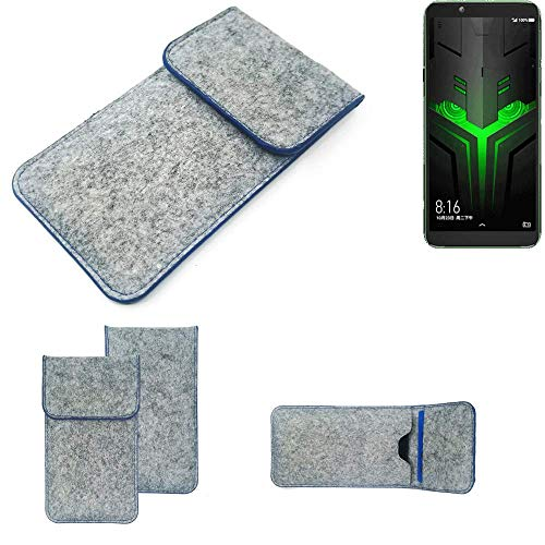 K-S-Trade® Filz Schutz Hülle Für Xiaomi Blackshark Helo Schutzhülle Filztasche Pouch Tasche Case Sleeve Handyhülle Filzhülle Hellgrau, Blauer Rand