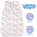 Lictin Schlafsack Baby Winterschlafsack 1.0 Tog Babyschlafsack Einstellbar 90-110cm für Neugeborene 18-36 Monate