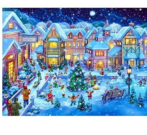 XIGZI Schnee Weihnachten Diamant Malerei Voll Quadrat Schloss Diamant Stickerei Winterlandschaft Dekoration 40X50 cm