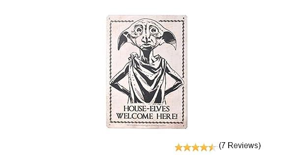 Pritties Accessories Les Elfes de la Maison Harry Potter sont Les bienvenus Ici Dobby Plaque de Porte Murale en t/ôle dacier A5