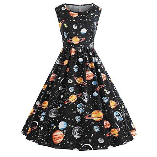 Netto-mädchen T-shirt (Sasstaids Heißes Kleid,Vintage Frauen Damen Boho Vintage Druck Taille Sternenhimmel Schulterfreies Planet Space Kleid Brautjunferkleider)