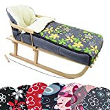 BAMBINIWELT Kombi-Angebot Holz-Schlitten mit Rückenlehne & Zugseil + universaler Winterfußsack (108cm), auch geeignet für Babyschale, Kinderwagen, Buggy, aus Wolle Design (grau grün gelbe Blumen)