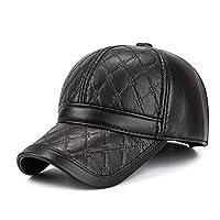 warenplus2014 Black Faux Leather Cap with Ear Protectors (Hat)