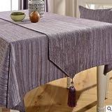 DSAAA Sencillez moderna raya gris cofe mantel rectangular y cubierta de tela,140*180cm