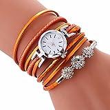 LSAltd Damen Art und Weisediamant-Verpackung Um Uhr Lederoid Quarz Armbanduhr (Orange 1)