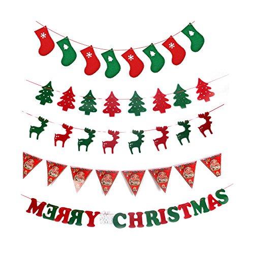 Banners de Navidad, árbol colgante Elk Stockings Banderas Feliz Navidad Banner Decoraciones, Navidad Garland Holiday Party Adornos (5pcs Navidad banners)