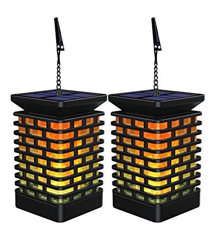 Fortand Solar Laterne Solarlaterne Garten Gartenlaternen Solarlaterne für außen LED Solarlaterne Garten Flammenlampe mit Flackernden Flammen für Deko Garten (2 Stück)