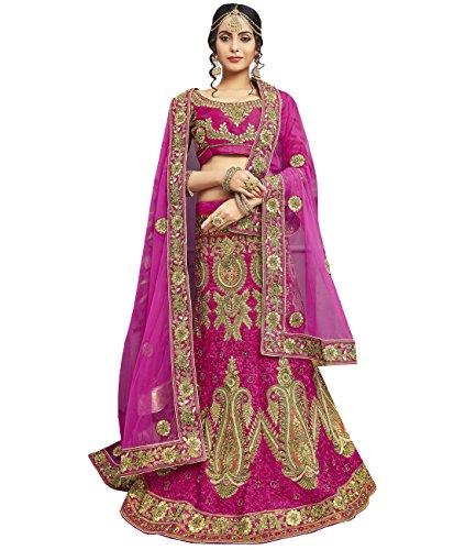 Indian Ethnicwear Bollywood Pakistani Wedding Pink A-Line Lehenga Semi-stitched-ROYK26857