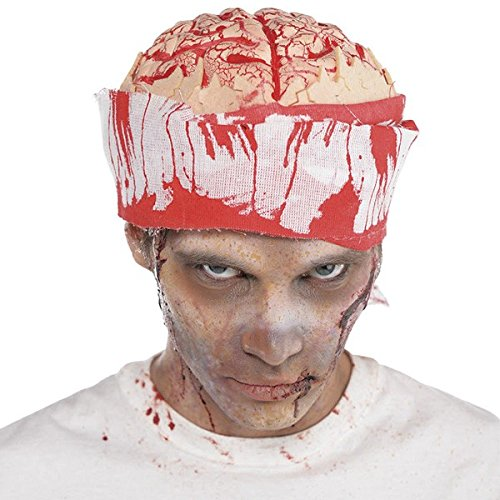 1x Hut * GEHIRN * als Verkleidung für Halloween oder eine gruselige Motto-Party // Kostüm brain hat Motto Party Operation blutig bloody Patient Horror Grusel