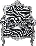 Casa Padrino Barock Sessel 'Lord' Mod1 Zebra/Silber Antik Stil