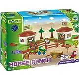 Wader Kinder Spielzeug Pferde Hof Pferdestall 1,6 m Spielstrasse Spielzeugauto