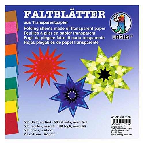 Ursus 2645199 - Faltblätter Transparentpapier, ca. 20 x 20 cm, 42 g/qm, 500 Blatt, sortier Preisvergleich