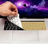 MyGadget Coque Clavier AZERTY pour Apple Macbook New Pro 13/15 2016 + - Protection poussière Silicone Flexible - Couverture Ultra Fine en Doré