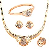 YAZILIND Gold hohle Schild Anhänger in Form von Strass Halskette 4 Stück Schmuck Sets