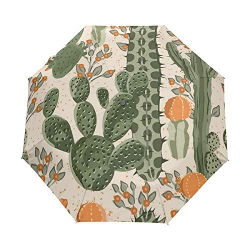 DUILLY Automatischer Regenschirm zum Öffnen/Schließen,Aquarell-Muster-grüne saftige Kaktus-Orangen-Blumen-Natur-mexikanische Wüsten-Birnen-stacheliges mit Blumen,zusammenklappbarer Sonnenschirm -
