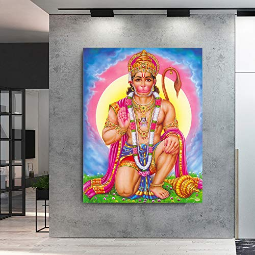 Hanuman Wandbild Druck Auf Leinwand Kunst Wandbild Rama Indischer Gott Kunst Poster Dekoration Malerei 75x100 cm ungerahmt PM116
