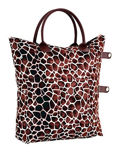 Damen Nylon Shopper Tasche Wasserdichte Handtaschen Faltbare Schultertaschen klein, TA- 1090 Braun (Handtasche Nylon Zebra)