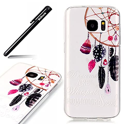 Silicone Case for Samsung Galaxy S7 Edge Dreamcatcher Red Feathers Black Bird feathers Gem Pendant TPU Gel Strict fit Painted pattern Simple and stylish Transparent Cover Bling Bling Shiny Anti-slip Skin Suitable for the party Protection Strict Shockproof Heavy Duty Robust Bumper Case Buffer Shell + 1 * Black Stylus Pen