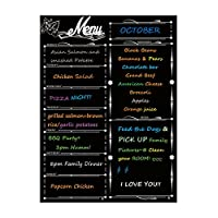 """Fridge Dry Erase Board Calendar, Alaman Magnetic Refrigerator Dry Eraser Weekly Menu Meal Planner Family Calendar Organiser 16"""" x 12"""" Weekly Menu Planner with Grocery List and Notes (Black)"""