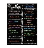 Alaman Wöchentlich Magnetischer Kalender, Kühlschrank-Kalender Magnettafel mit Wochenplaner Familie Menüplaner mit der Einkaufsliste und Noten 41x31 cm(Schwarz)