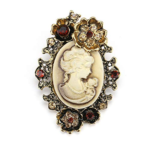 ONUEJXD Vintage Elegante Antike Gold Silber Schönheit Königin Brosche Cameo Strass Brosche Pins Frauen Party Kleidung Hut ZubehörAntikes Gold Überzogen (Cameo-pins Und Broschen)
