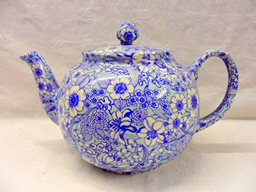 Blue Valencia 6 Cup Teapot By Heron Cross Pottery.