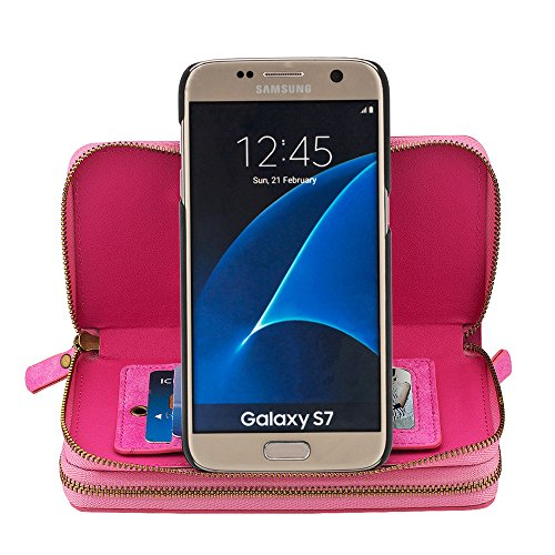 """iPhone 7 Coque,iPhone 8 Coque,SUNWAY Rétro Double Zipper Purse main détachable Leather Cards Cash Slots Miroir Flip Pouch stand Coque pour iPhone 7/8 4.7"""",Rosso Rosa"""