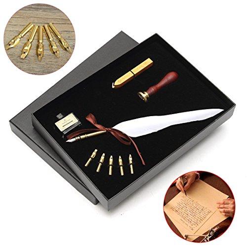 er Feder Dip Pen Set Tinte Dichtung Wachs Ersatzspitze Antike Geschenkbox (Audrey Hepburn Geldbörse)