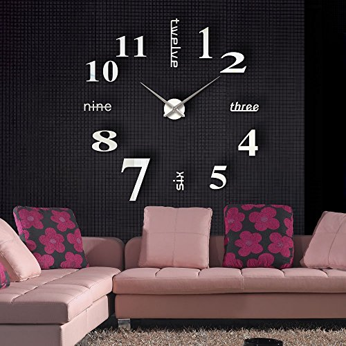 MFEIR® Reloj de Pared 3D con Números Adhesivos DIY Bricolaje Moderno  Decoración Adorno para Hogar Habitación de MFEIR caa0453b2897
