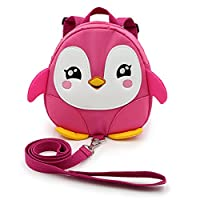 IGNPION Toddle Children Backpack with Reins Rucksack Harness Walkers Tether Belt Penguin (Pink)