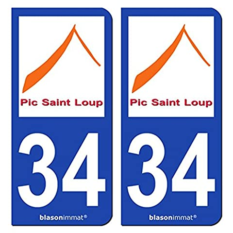 2 Stickers de plaque d'immatriculation auto 34 Pic Saint Loup - Pays