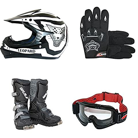 Wulfsport Kids Children LA Motorbike Motocross Boots + Leopard LEO-X17 Kids Junior Motocross MX Bike Helmet & Gloves & Goggles Off Road ATV Quad Helmet Black S(49-50cm) & Boots