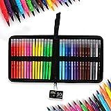 Stylos de 30 couleurs, double astuces Aquarelle avec surligneurs 2mm Pinceaux et 0.4mm Astuces pour dessiner Croquis Coloriages Peinture Manga Souligner et souligner la conception Enfants et adultes