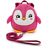 IGNPION Toddle Children Backpack with Reins Rucksack Harness Walkers Tether Belt Penguin (Pink)