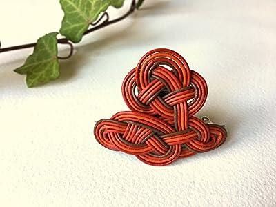 barrette - tressage en cordes de cuir - rouge et marron - 5 cm