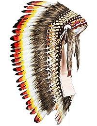 KARMABCN Y31- Colores medianos Indios Tres tocados (36 Pulgadas de Largo). Estilo Americano Nativo