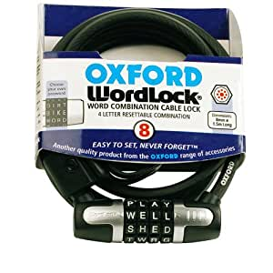 Oxford 4 Letter Resettable Combination Cable Cycle Bike Wordlock