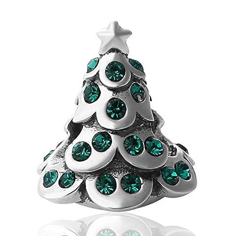 Arbre de Noël en argent sterling 925 charm-authentic bead-gift pour Mom fille le jour de Noël