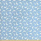 ABAKUHAUS Ozean Stoff als Meterware, Muster mit Delfinen,