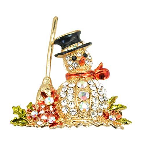 HEALIFTY Weihnachten Brosche Weihnachten Kränze Schneemann Schneeflocke Santa Candy Cane Brosche Pin (Gold)