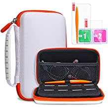 New Nintendo 2DS XL Carrying Case KINGTOP Hard Travel Protective Shell for New Nintendo 2DS XL/LL New Nintendo 3DS/XL/LL, White & Orange