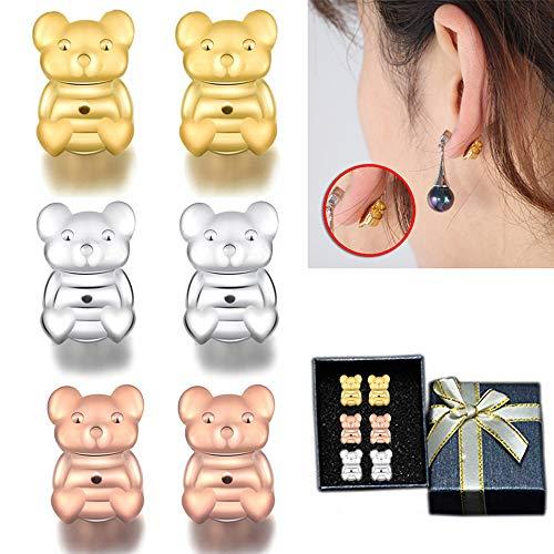 Ohrring Rücken Magic Bax Ohrring Heber 3 Paar Earring Support Einstellbare Hypoallergene Passend Alle Post Ohrringe Heben Sie Stretched Ohrläppchen Locking Ohrring Zubehör für Frauen
