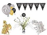 Party Deko Set 70.Geburtstag 10 teilig Mann Frau gold silber Deko Komplettset