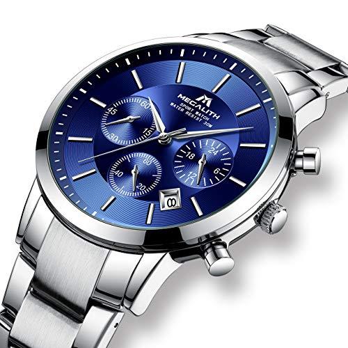 Montre Homme Montres Bracelets Etanche Sport Chronographe en Argent Acier Inoxydable Montre pour Hommes Luxe Entreprise Calendrier de Date Bleu