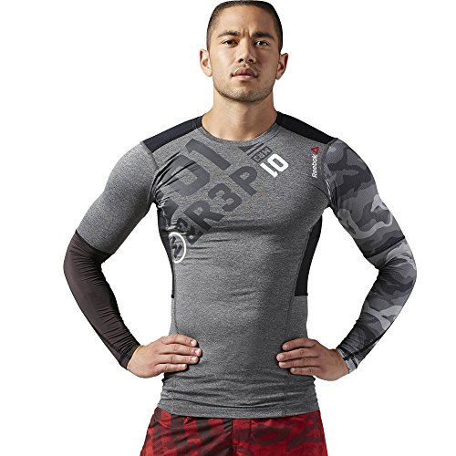 One Reebok Series Compression (Reebok Herren Langärmeliges Shirt One Series Pw3R Compression Top, Electric Peach, XS, AJ0814)