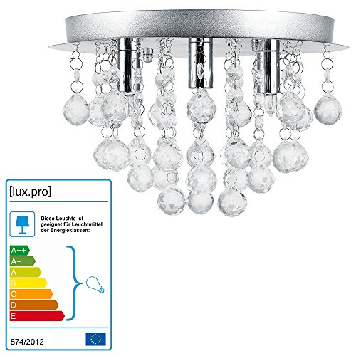 Lüster Deckenleuchte / Deckenlampe - Trio - von [lux.pro]® - Modernes Design: Kron-leuchter aus Chrom, Metall & Kunst-Kristall - Ø 28 cm Leuchte - 3 x G9 Sockel - für Wohnzimmer & Schlafzimmer (Alle Glas-kristall-kronleuchter)