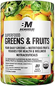 Bigmuscles Nutrition Superfood Greens & Fruits 20 Servings   Original Flavour   Organic Spirulina & Wh