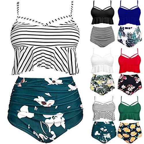Dasongff Damen Zweiteilige Badeanzüge Ruffled Top Hoch Tailliert Bottom Bikini Set Strandurlaub Bademode Sexy Weste Oberteil Shortszweiteiliger Hipster Ruffled Slip